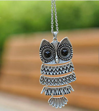 Women Retro Style Owl Design Fashion Pendant Vintage Silver Long Chain Necklace