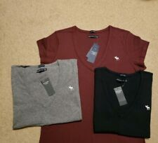 NWT Abercrombie & Fitch Cotton Icon V Neck Tee 3 Colors  M or L
