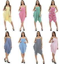 Ladies Women's Striped Harem Baggy Summer Jumpsuit Playsuit All in One Dress UK