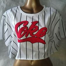 1277d891e29d OFFICIAL COCA-COLA COKE GRAPHIC CROPPED T-SHIRT TOP RED/WHITE STRIPE-