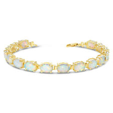 Gold Oval Simulated Opal (9 x 7) Tennis Bracelet (Yellow White Rose)