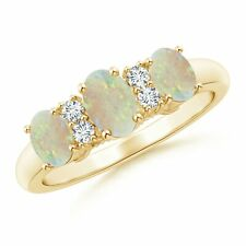 Oval Three Stone Opal Engagement Ring with Diamonds Gold/Platinum Size 3-13