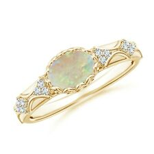 Oval Opal Vintage Style Ring with Diamond Accents Gold/Platinum Size 3-13