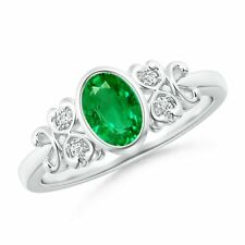 Vintage Style Bezel-Set Oval Emerald Ring with Diamonds in Gold Size 3-13