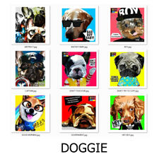 Puppie & Doggie Cute Dog Poster Picture Hang Art Wall Home Decor with Wood Frame