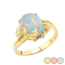 Solid Gold Simulated Opal Gemstone Oval Floral Ladies Ring In 10K