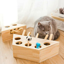 Pet Indoor Solid Wooden Cat Hunt Toy Interactive 3/5-holed Mouse Seat Fun Play C