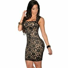 Women Sexy And Hot Lace Short Dresses Summer Style Nude Illusion Lace
