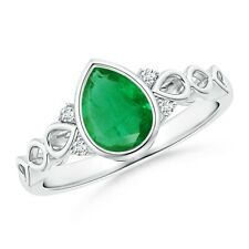 Bezel Set Vintage Pear Emerald Ring with Diamond Accents 14k Gold Size 3-13