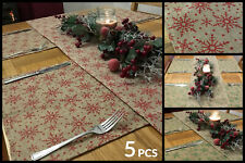 5 Piece Christmas Snowflake Dinner Table Place Mats And Runner Set - Green / Red