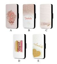 Personalised Initial Custom printed glitter  Faux Leather Flip Phone Case Cover