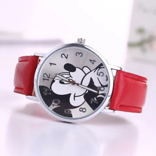 Cute Mickey Mouse Leather Wrist Watch Lady Girl Women Teens Kids Cartoon Watches
