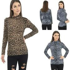 Leopard Print Long Sleeve Turtle Polo Neck New Womens T-Shirt Jersey Top UK 8-26