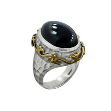 Black Onyx Ring, 925 Sterling Silver Onyx Jewelry, Two Tone Silver Cocktail Ring