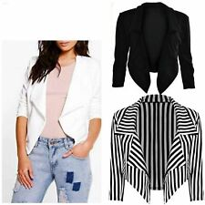 Womens Ladies Cropped Style Waterfall Blazer Jacket Coat Top Plus Size 8-26