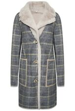 Rino & Pelle Women's Rida Yellow Checked Reversible Faux Suede Coat