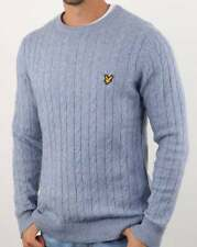 Lyle And Scott Cable Knit Jumper in Stone Blue - crew neck sweater, pullover