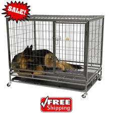 Dog Crate Kennel Heavy Duty Pet Cage Playpen with Tray Wheels