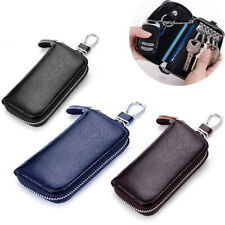 Leather Wallet Key Holder Pouch with Card SlotBag Zip  Case Genuine Car Keychain