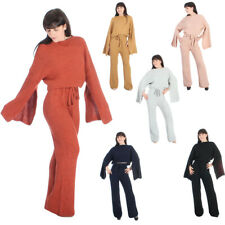 Knitted Co Ord 2 Piece Jumper Crop Top Lounge Wear Suit Tracksuit Set Size S XXL