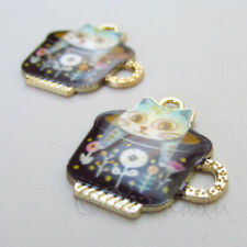 Cat Charms 23mm Kitty In Black Teacup Gold Plated Pendants C5266 - 2, 5 Or 10PCs
