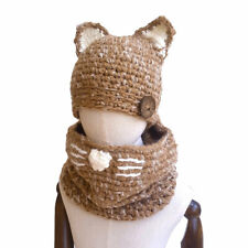 Winter Soft and Light Knitted Beanie Animal Hat & Scarf for Baby Boys Kids Girls