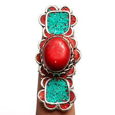 Red Coral Blue Turquoise 925 Sterling Silver Overlay Ring Jewelry Sz Adjustable