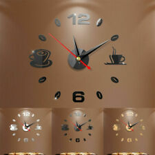 New Modern DIY Large Wall Clock 3D Mirror Surface Sticker Home Office Room Décor