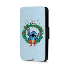 Disney Character Lilo and Stitch Phone Case Christmas Faux Leather Flip Cover