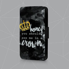 You Should See Me In A Crown Sherlock H Jack Faux Leather Flip Phone Case Cover