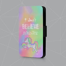 I Don't Believe In Humans Unicorn Rainbow  Faux Leather Flip Phone Case Cover