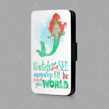 The Little Mermaid Ariel Watch And See Quote Faux Leather Flip Phone Case Cover