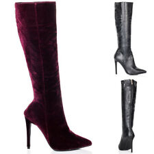 Womens Zip Pointed Toe High Heel Stiletto Knee High Tall Boots