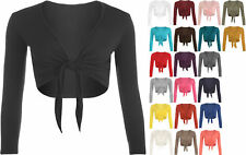 New Womens Tie Up Front Ladies Long Sleeve Plain Cropped Shrug Cardigan Top 8-14