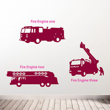 Fire Engine Team Wall Stickers Children's Room Diy New Removable Vinyl Decals B3