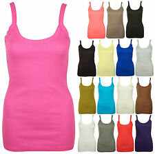 LADIES STRAPPY RIBBED VEST WOMENS STRETCH TANK TOP 8-14