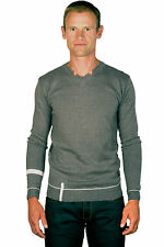 Ugholin Pull Homme Fin Col V Gris Manches Longues
