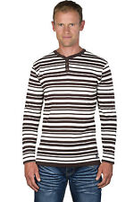 Ugholin - Pull Homme Fin Col Tunisien Rayé Chocolat/Ecru Manches Longues