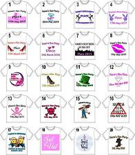 PERSONALISED HEN NIGHT/PARTY IRON ON T SHIRT TRANSFERS WHITE/LIGHT FABRICS