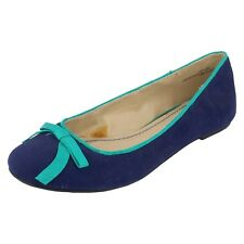 SALE NOW £9.99 Ladies spot-on blue textile flat  slip-on Dolly shoes F8764