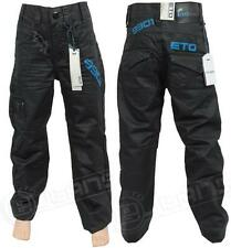 NEW BOYS ETO EB263 DESIGNER STRAIGHT FIT BLACK-COATED JEANS SZIES 24-29