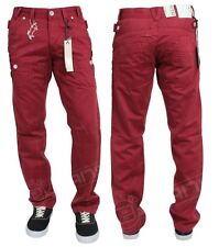 NEW MENS DESIGNER ETO EM304 RED STRAIGHT JEANS LATEST IN STYLE   BARGAIN PRICE