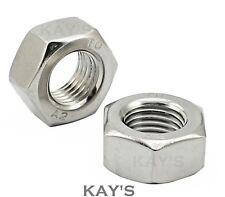 HEXAGON FULL NUTS TO FIT METRIC COARSE PITCH BOLTS & SCREWS A2 STAINLESS STEEL