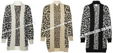L99 NEW WOMENS ANIMAL LEOPARD KNITTED OPEN CARDIGAN LADIES OVERSIZE JUMPER TOP.