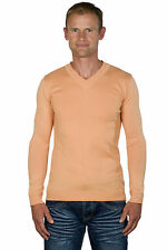 Ugholin - Pull Homme Fin Col V Abricot Manches Longues Massimo