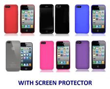 TPU GEL SILICONE SKIN CASE COVER WITH SCREEN PROTECTOR FOR APPLE IPHONE 5 / 5S