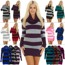 New Womens Long Sleeve Cowl Neck Stripe Knitted Tunic Jumper Dress Size S M L XL