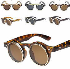 18f6fc7dab Steampunk Goggles Glasses Party Flip Up Round Clear Lens Sunglasses Lady  Gaga