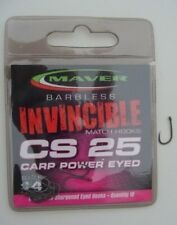 MAVER INVINCIBLE BARBLESS MATCH CS25 CARP POWER EYED MATCH HOOKS