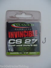 MAVER INVINCIBLE BARBLESS MATCH CS27 CARP WIDE GAPE EYED MATCH HOOKS